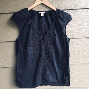J. Crew embroidered preppy lace up cap sleeve top
